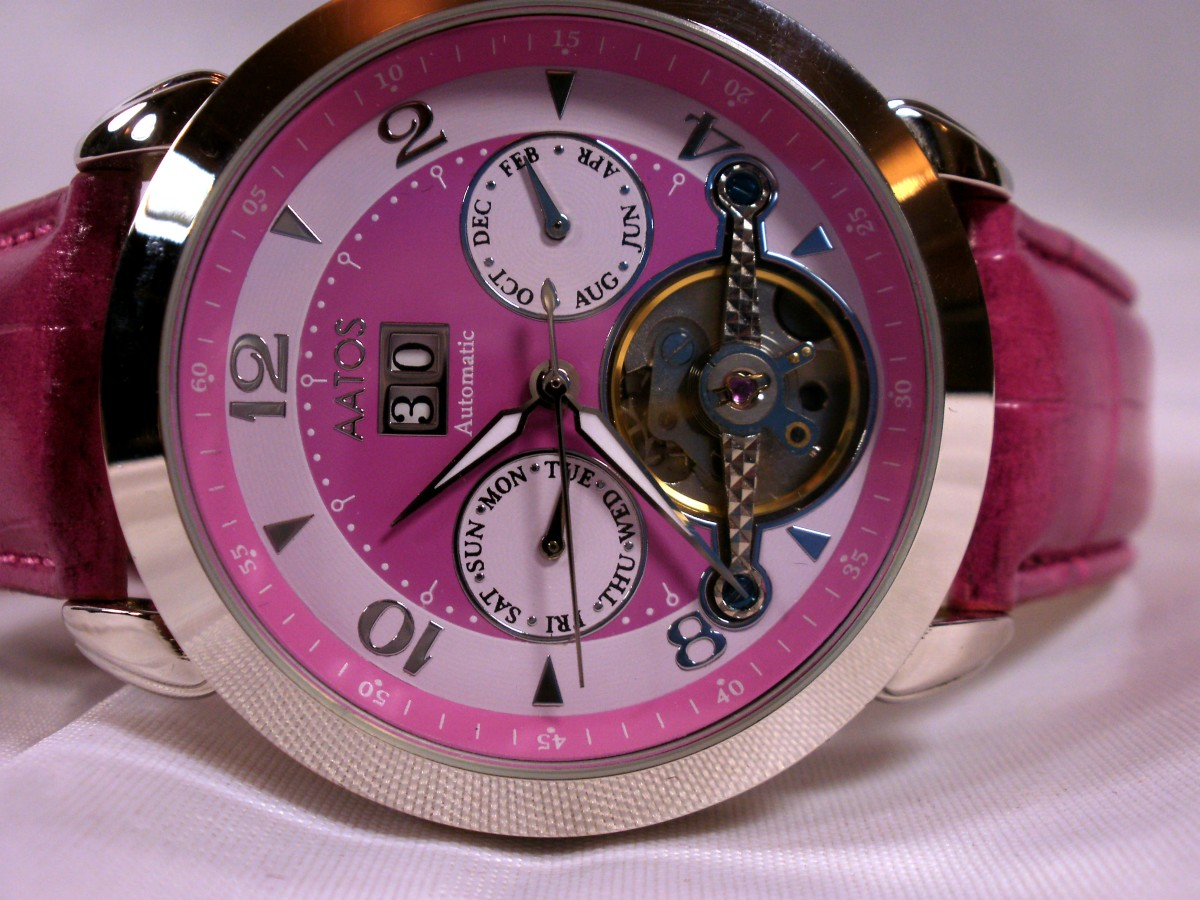 Review of the Aatos Ladies Automatic Pink, Leather Band Wristwatch G-DoliaLSPink