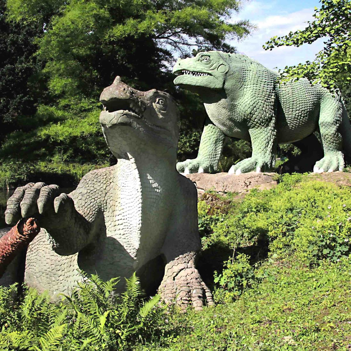 The Crystal Palace Dinosaurs photogrphed on Dinosaur Island