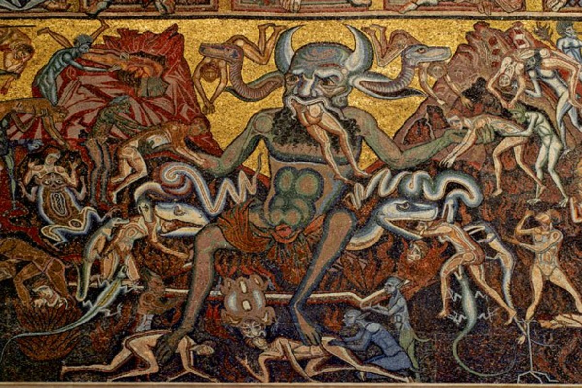 Mosaic of Satan in Hell at the Baptistry of San Giovanni (Florence, Italy)