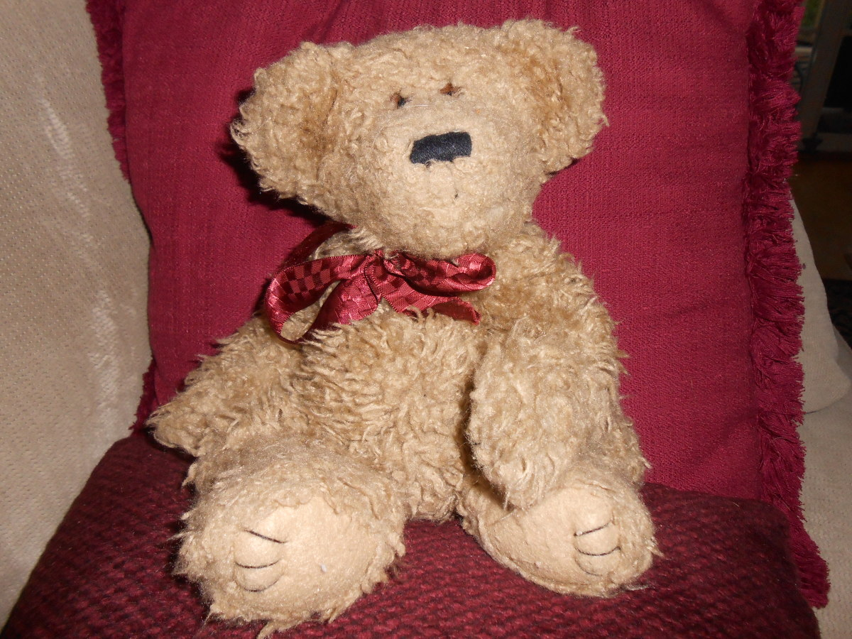"Here's a face I fell in love with. This Boyds Bear is called,""Stubby Mcstuffins"" and I just couldn't leave him in the bin at Goodwill. He cost me 75 cents!"