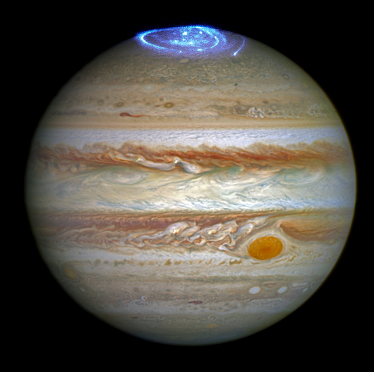 Image of Jupiter, 5th planet from the Sun, from the Hubble telescope.