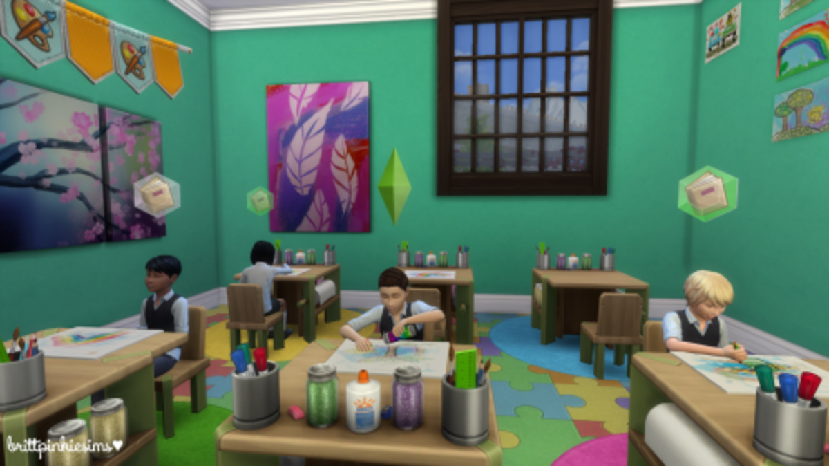 "A functioning school in ""The Sims 4,"" using Get Together's club system and a school lot, made by me."