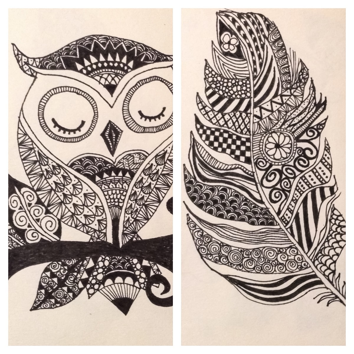Examples of my Zentangle art (inspired by online designs)