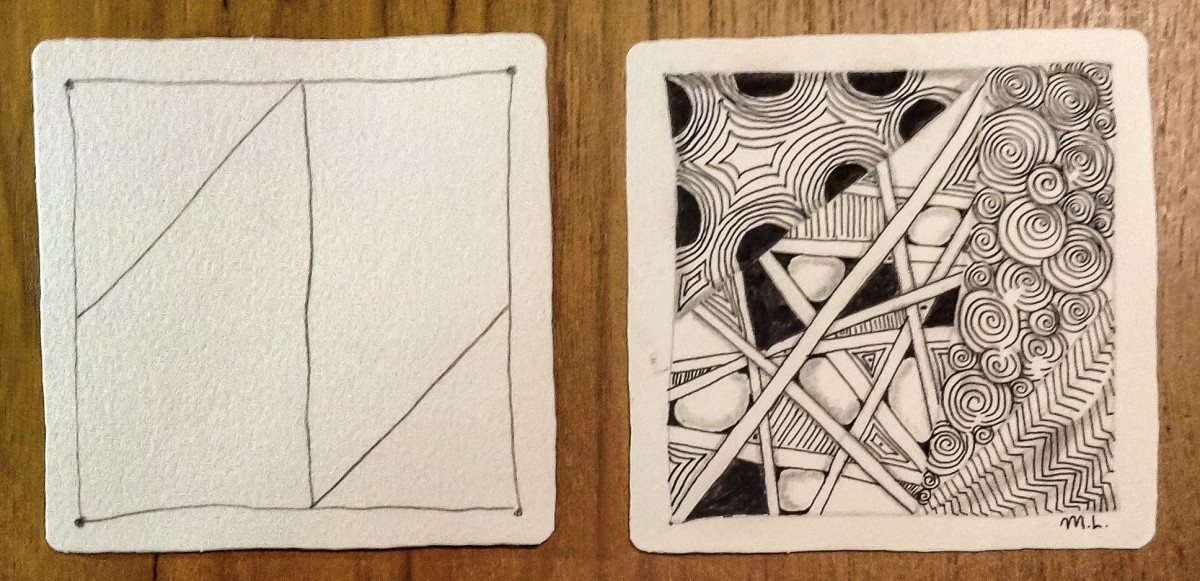 My first Zentangle piece (tile on the right)
