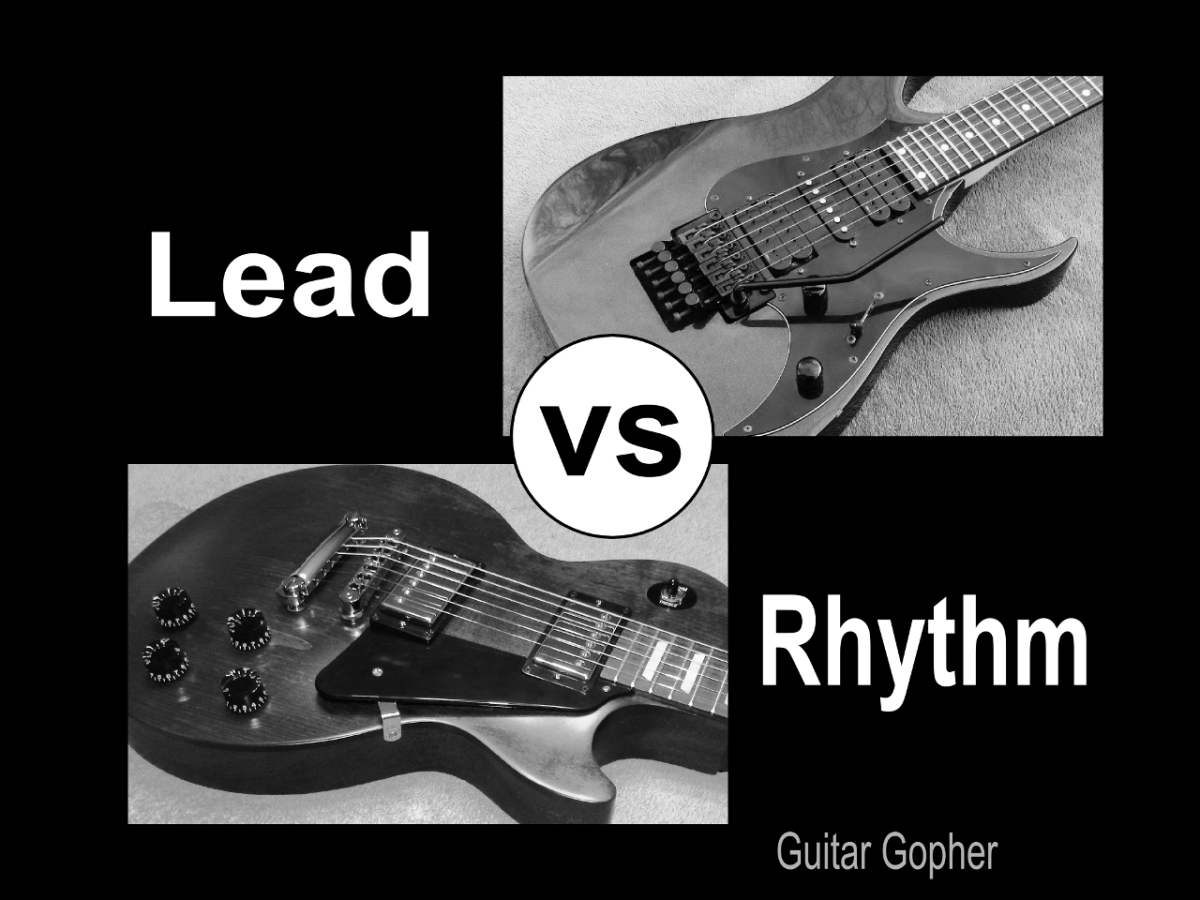 The difference between lead guitar and rhythm guitar.