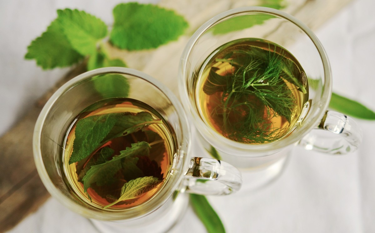 Glasses of herbal tea