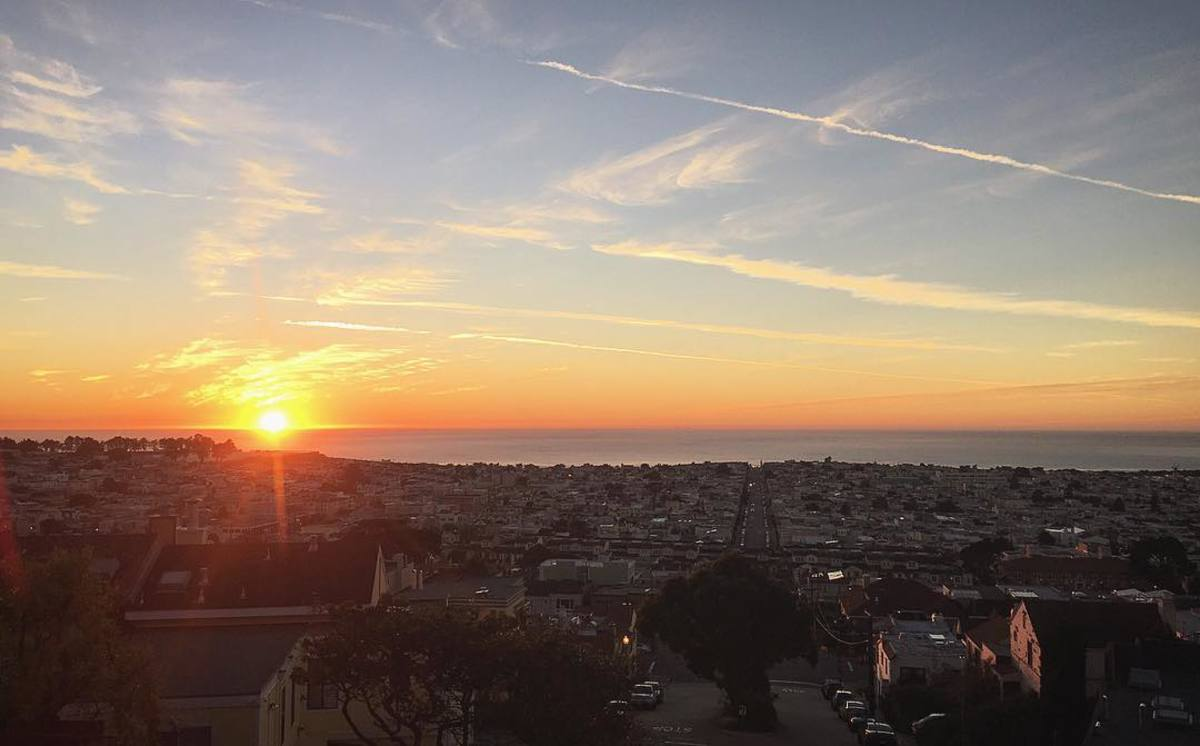 "Panoramic view of San Francisco's appropriately named ""Sunset"" District"