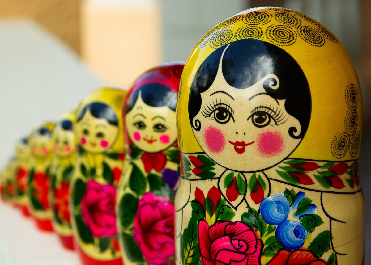 A row of Matryoshka dolls