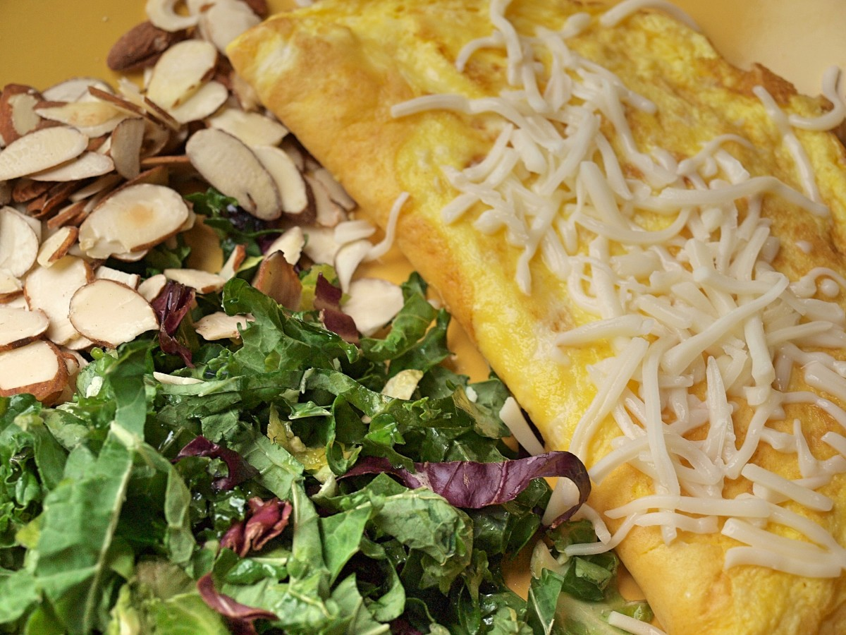 Eggs and cheese are great sources of protein, so make yourself an omelette for dinner. Be sure to include a salad of raw vegetables as well.
