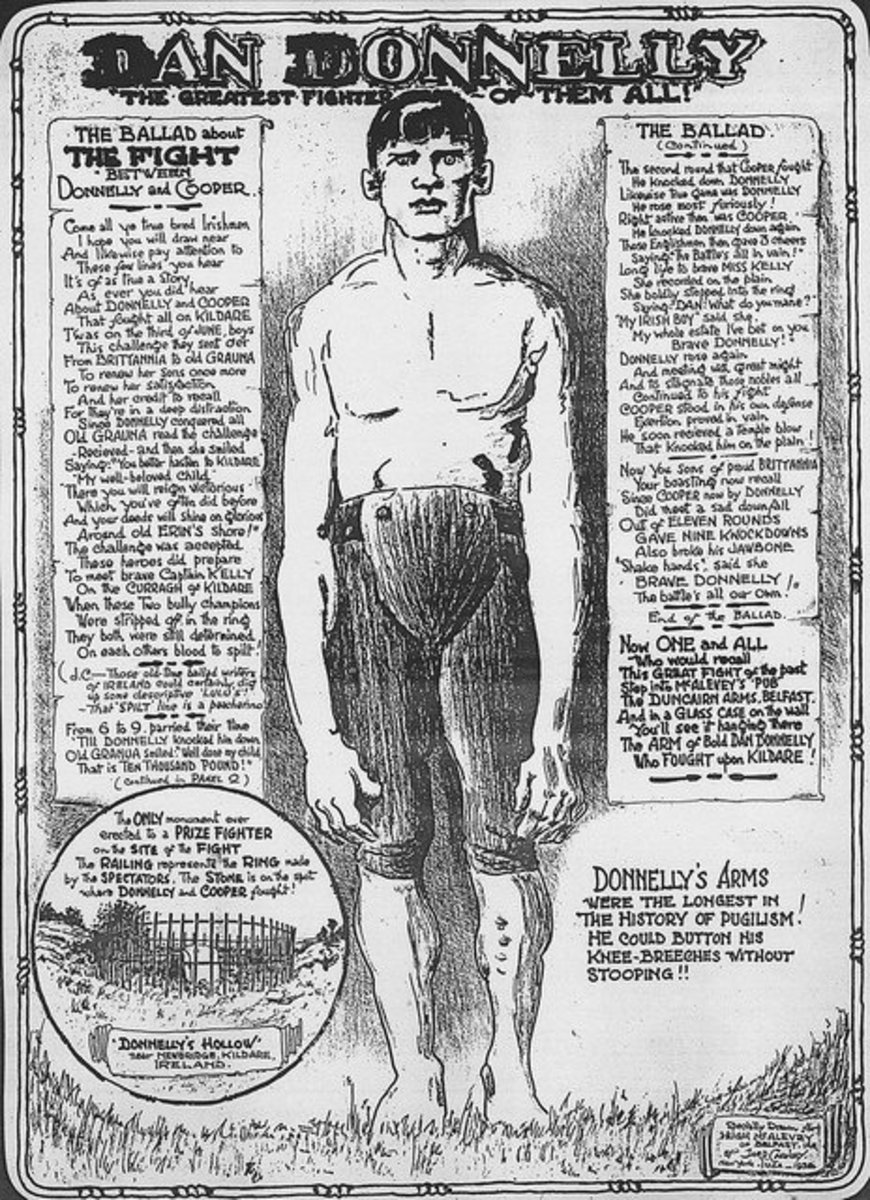 Legend has it that Ireland's undefeated bare-knuckle boxing champion, Dan Donnelly, had the longest arms in boxing history.