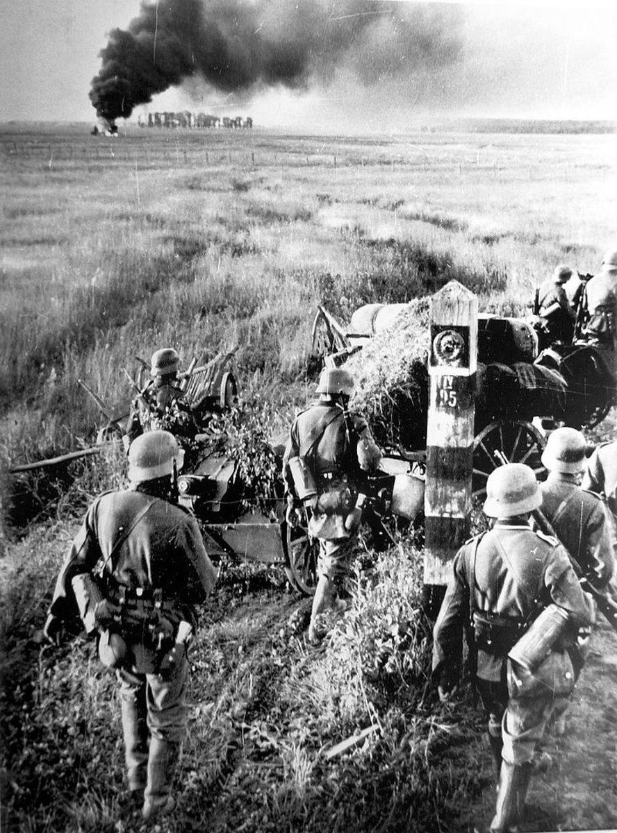 German troops crossing a Soviet frontier border marker June 22, 1941.