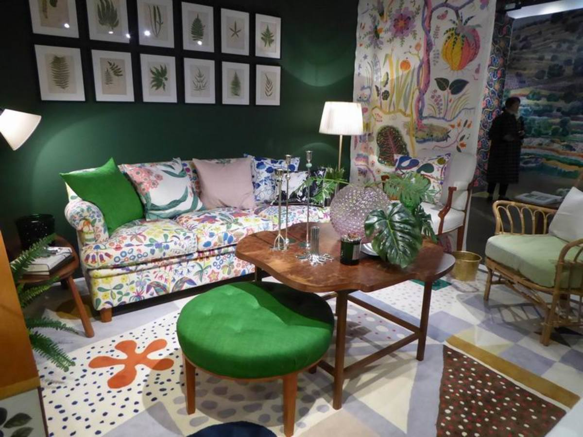 A room setting showing designs by Josef Frank. Copyright image by Frances Spiegel with permission from the Fashion and Textile Museum. All rights reserved.
