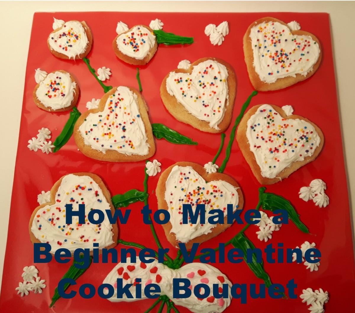 A Beginner's Valentine Cookie Bouquet