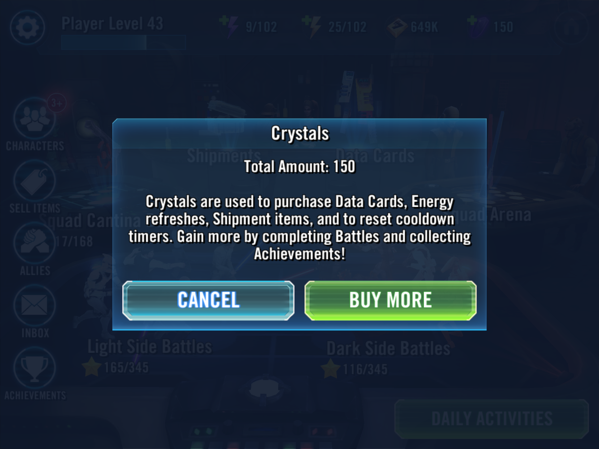 Star Wars Galaxy of Heroes SWGOH Crystals Guide