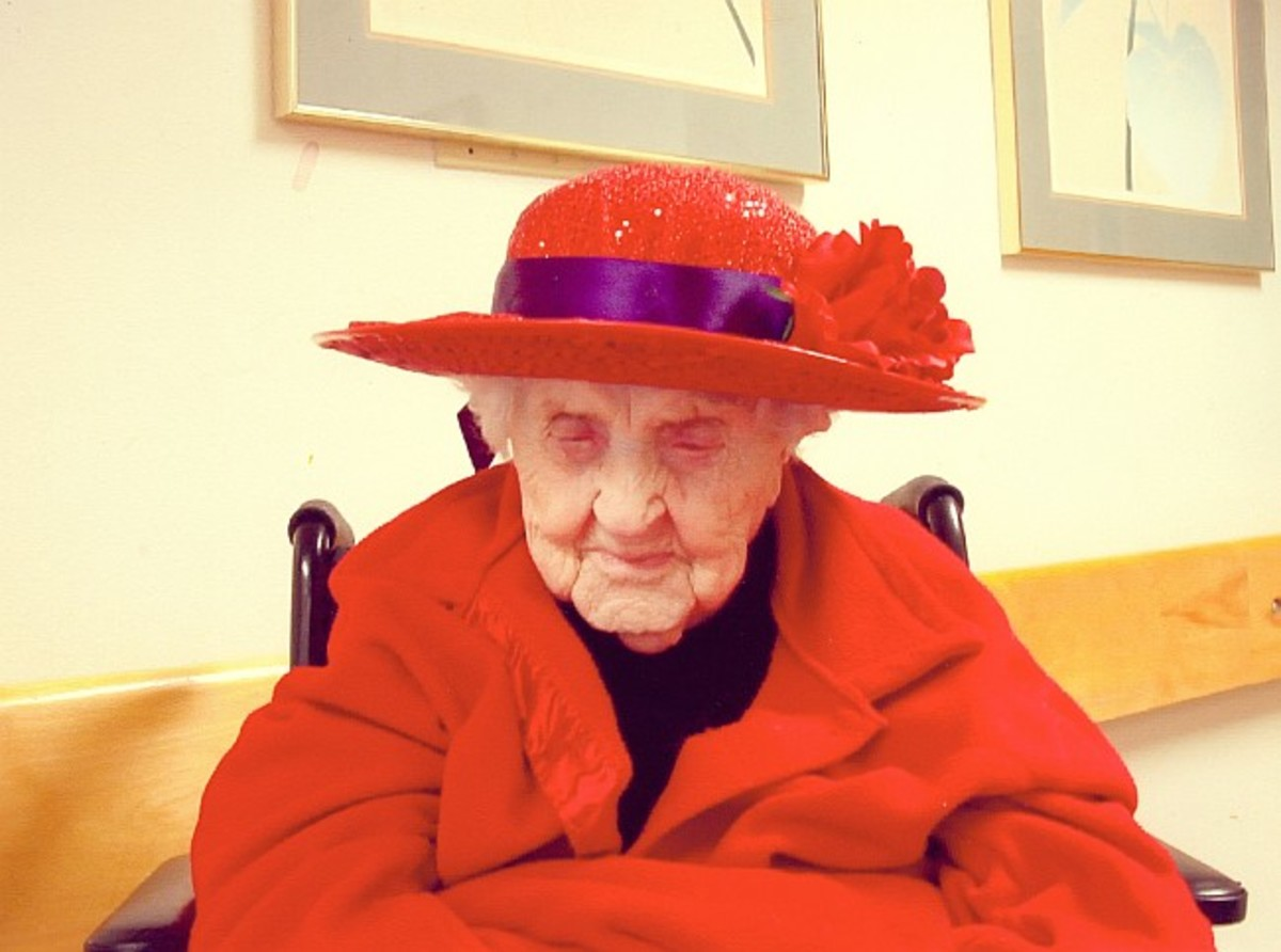 Neva Morris (age 110) in the Red Hats Society for Women 50+.
