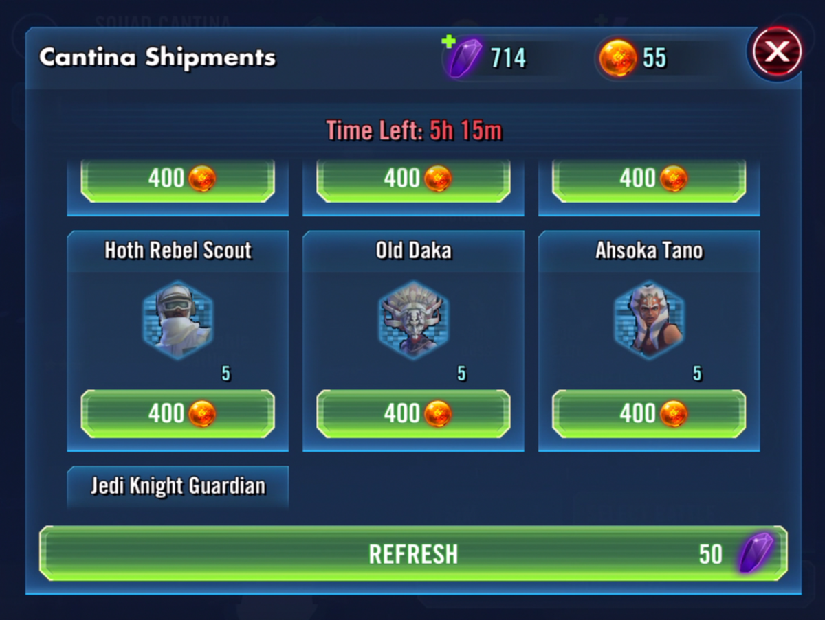 Star Wars Galaxy of Heroes: Cantina Battle Store Tips