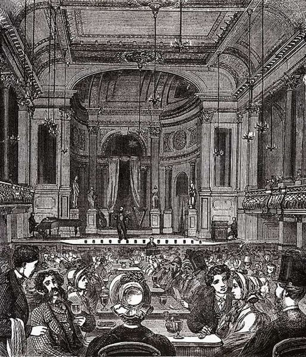 The Oxford Music Hall in 1875 where the audience could get well lubricated, the better to enjoy comic songs.