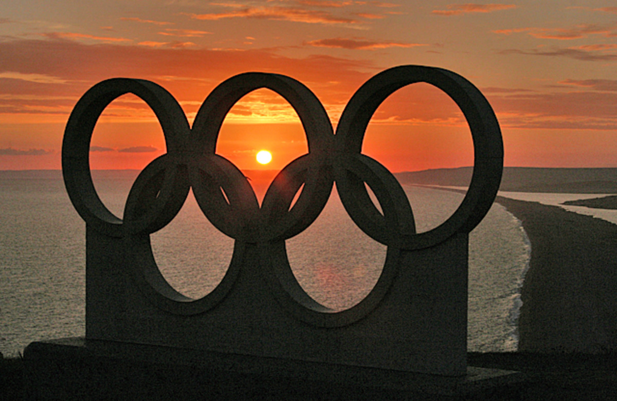 the Olympic circles at sunset