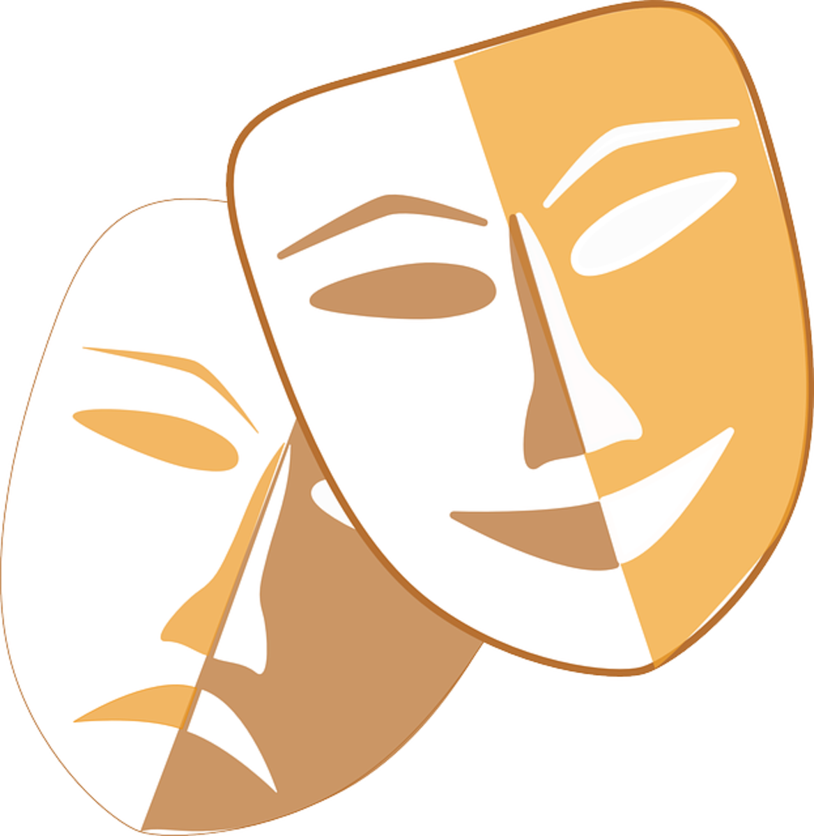 The happy and sad masks, representing comedy and tragedy, have represented the theater for centuries.