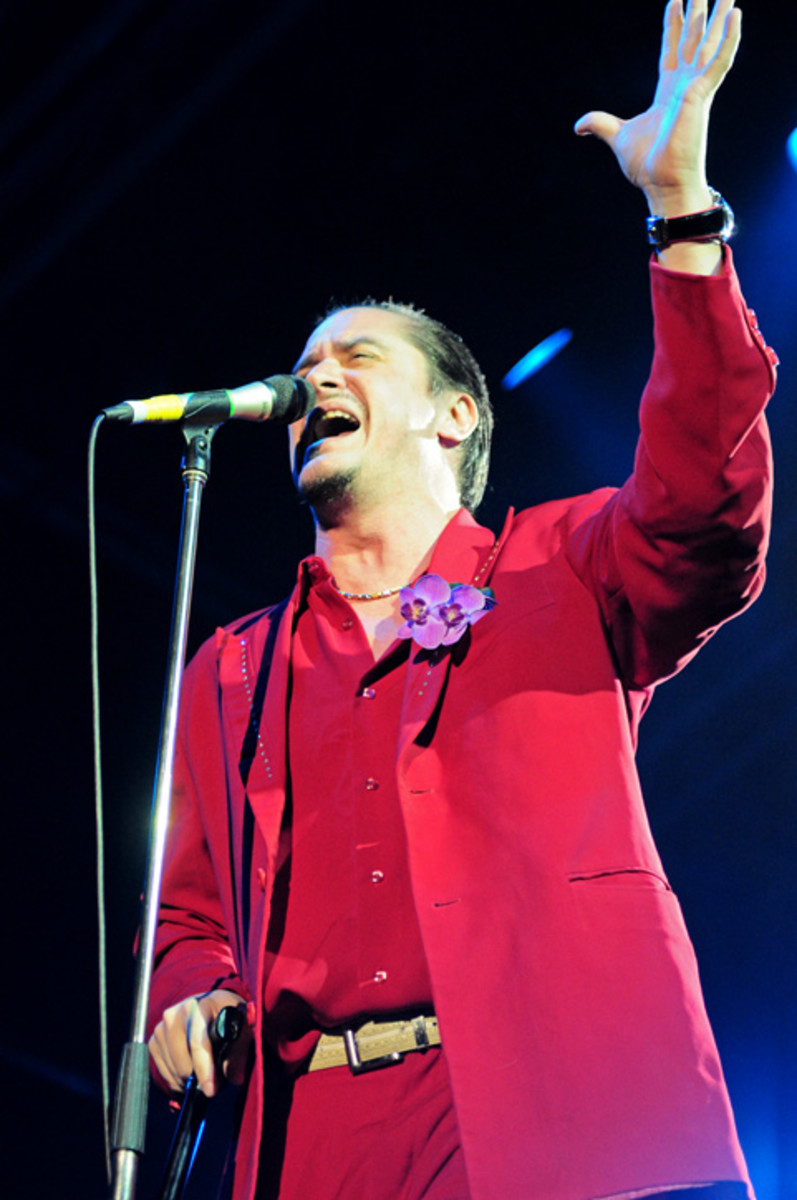 Mike with Faith No More at Soundwave Festival in 2010. The band reunited in 2009 and played some dates through the years, and released Sol Invictus in 2015