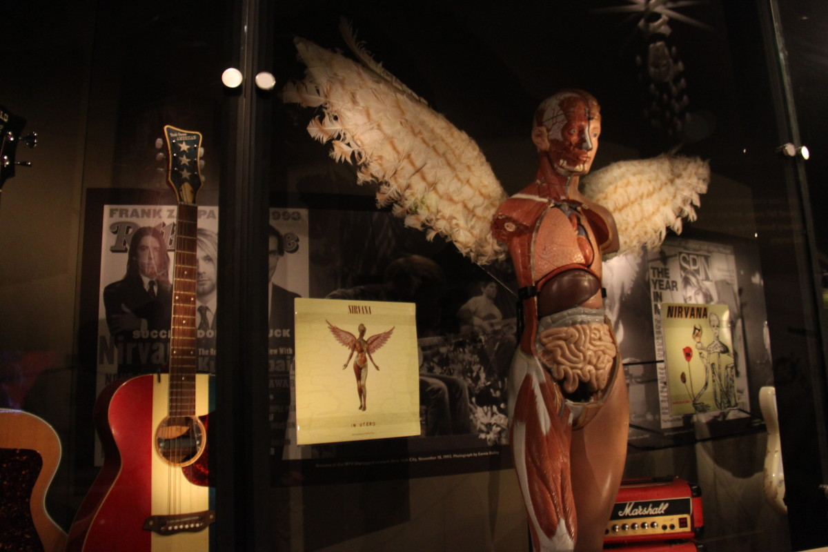 Nirvana exhibit at EMP museum in Seattle, which has hundreds of Nirvana artifacts on display.