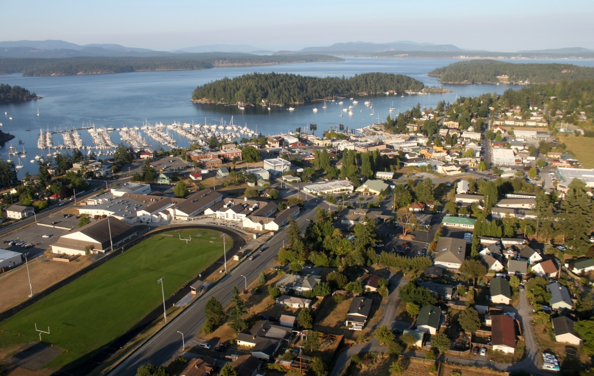 Friday Harbor, Washington, is a lovely community on San Juan Island, about 70 miles northwest of Seattle. This aerial view shows the beautiful vista that beckons to visitors.