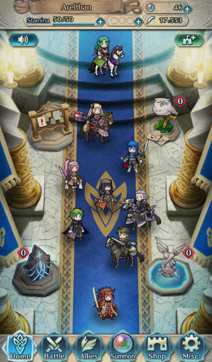 A picture of my castle in Fire Emblem: Heroes. You can see my Orb count at the upper-right corner of the screenshot.