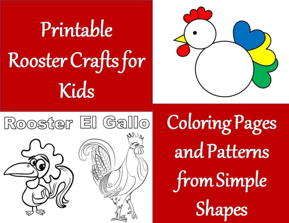 Printable Rooster Crafts for Kids:  Coloring Pages and Patterns from Simple Shapes