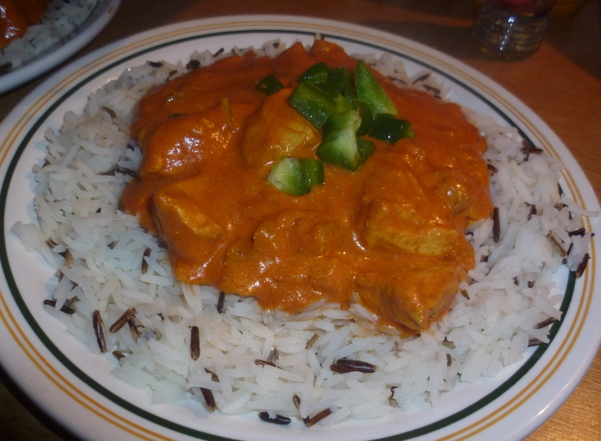 Served with Basmati and Wild Rice and Garnished with Green Peppers
