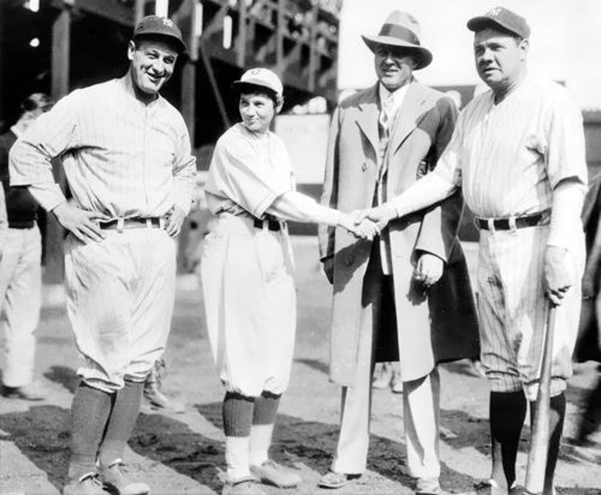 Jackie Mitchel with Lou Gehric, Babe Ruth, and Joe Engel.