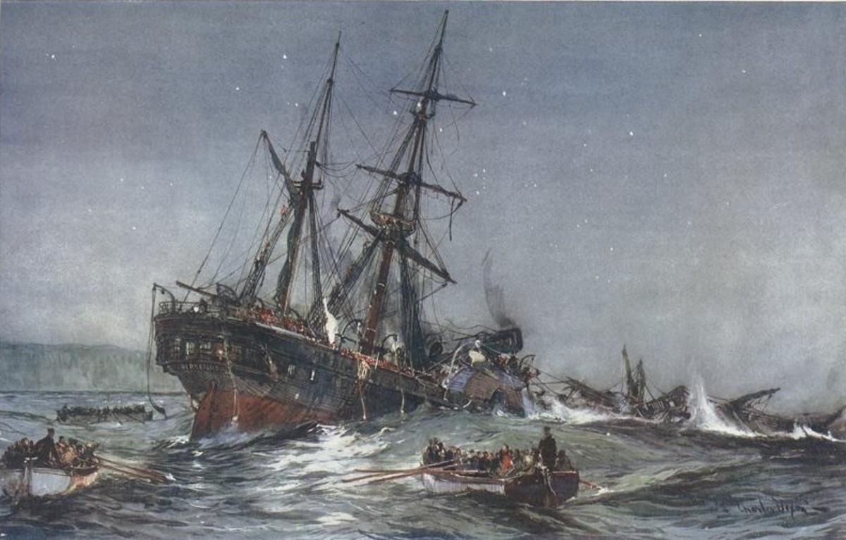 The sinking of HMS Birkenhead.