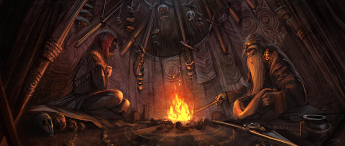 Inside a shaman's hut. Art by David Revoy.