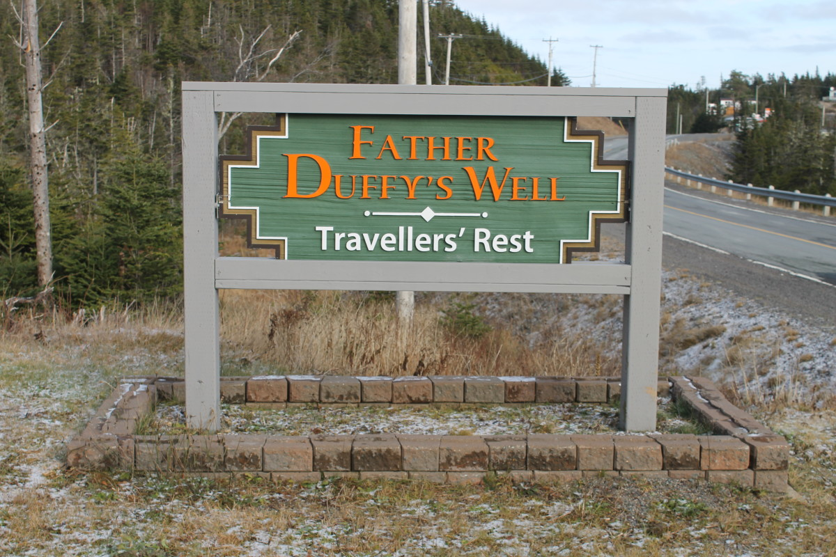 Road sign marking Father Duffy's Well