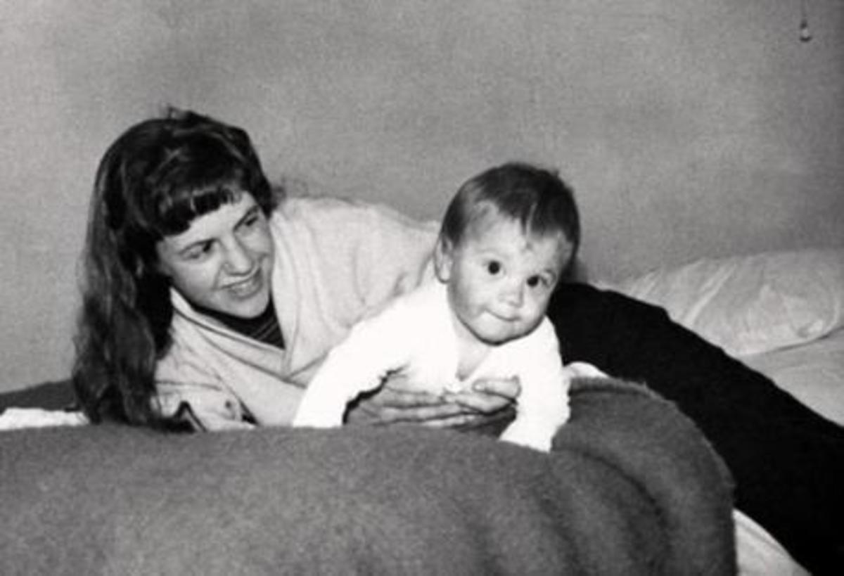 Sylvia Plath with her first child.