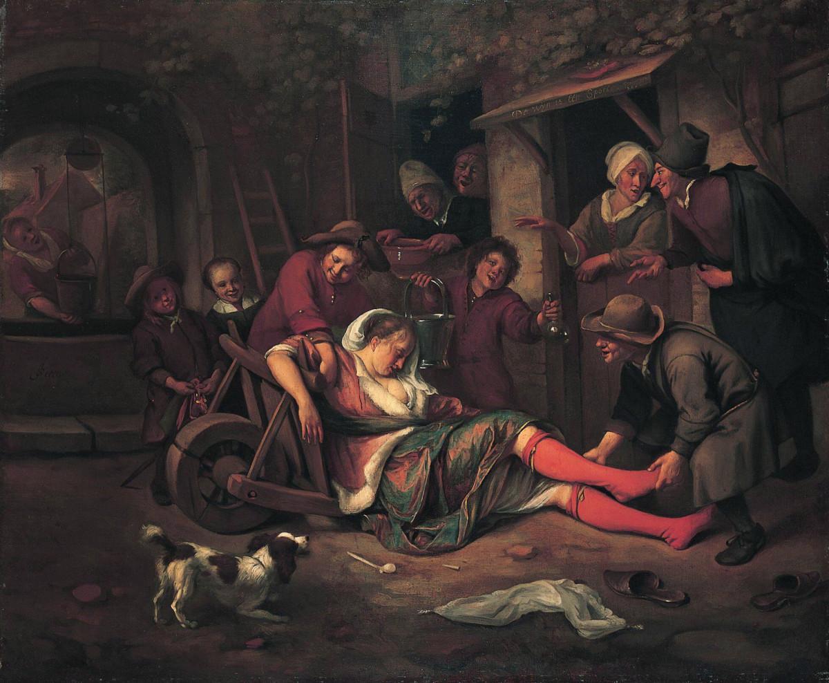 """""""Wine is a Mocker"""" Jan Steen 1664"""