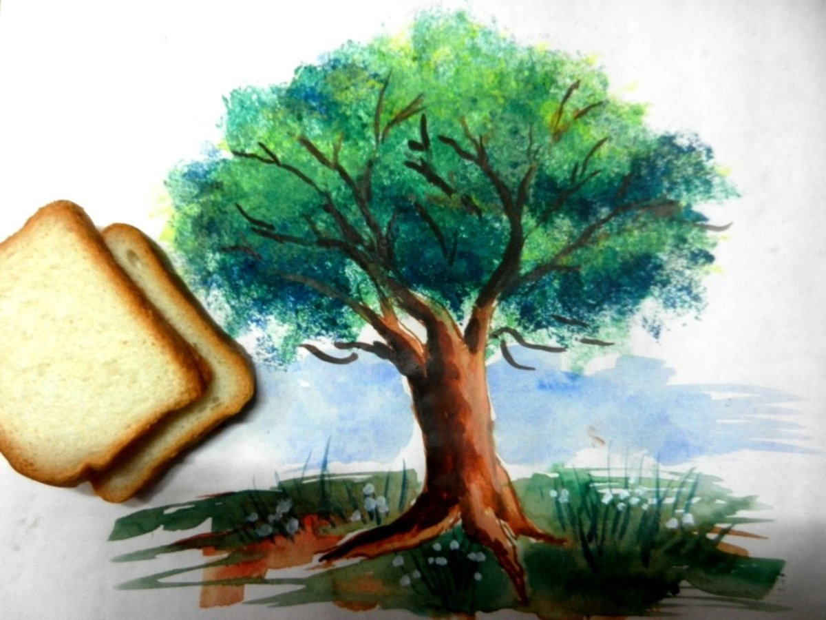 Easy Bread Slice Trick to paint Tree Leaves that Actually works.