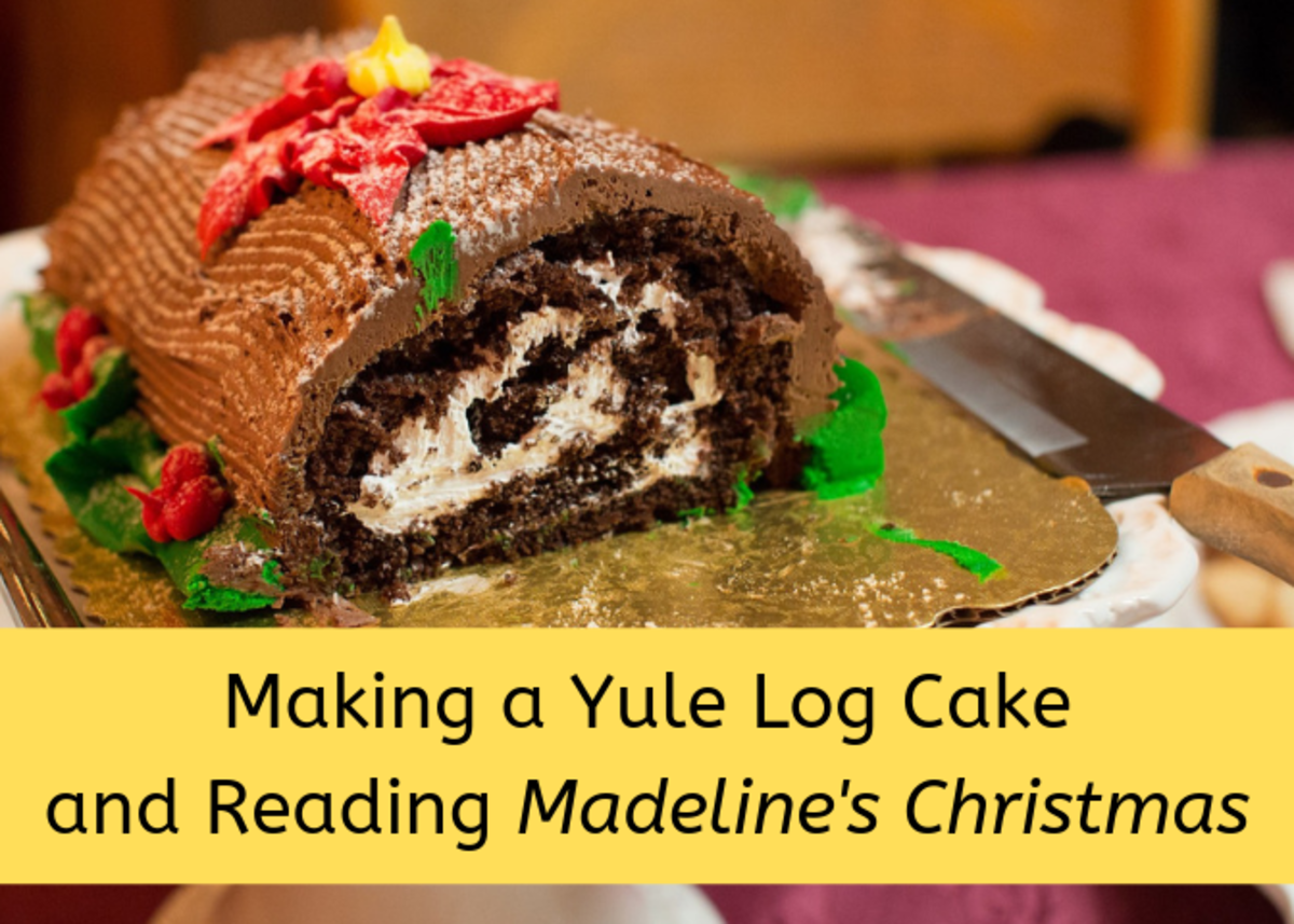 """Consider this fun Christmas activity to do with your children: Read """"Madeline's Christmas"""" and cook the Yule log cake shown in the book."""