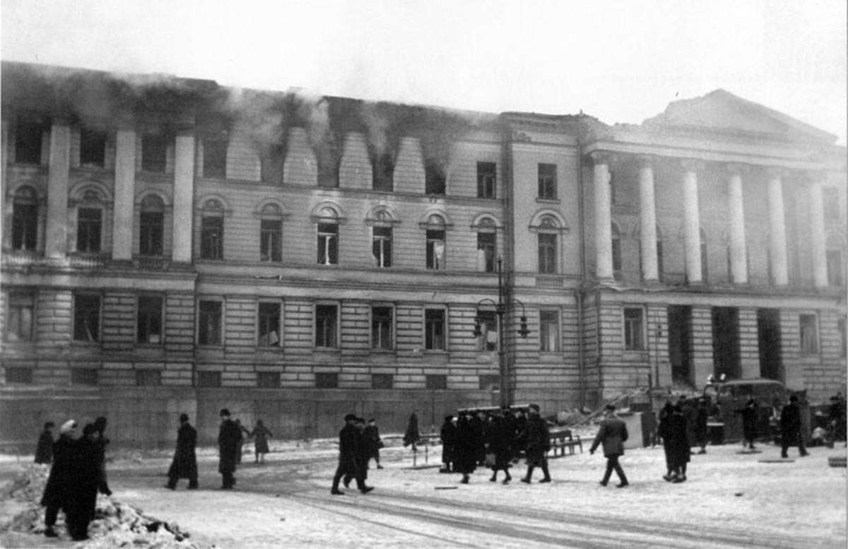 Helsinki University burning after being bombed by the Soviets during the Great Raids. Taken on February 27, 1944