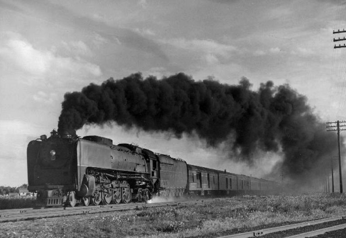 "Union Pacific train ""Pony Express"" pulled by UP locomotive 844 in 1949. The train traveled between Kansas City and Los Angeles until 1954, when it was discontinued."