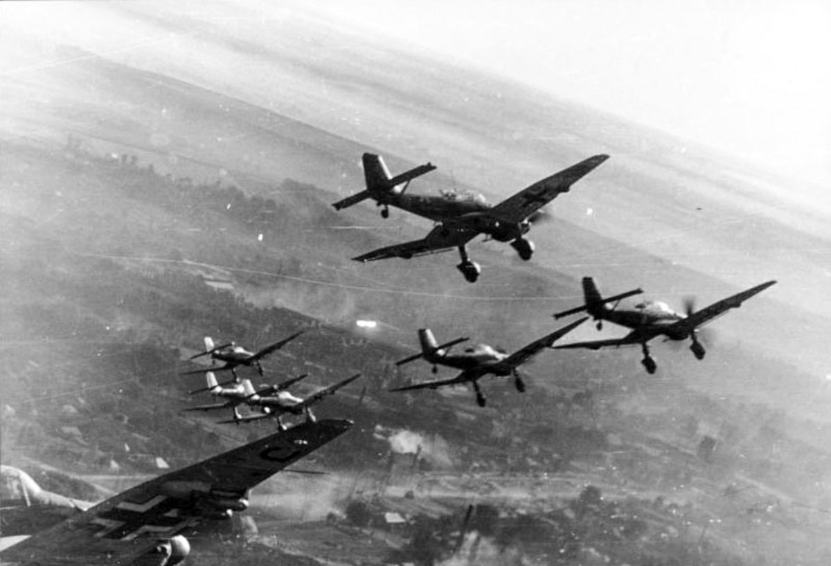 The Stukas were the flying artillery for advancing German tanks, the symbol of the Blitzkrieg.