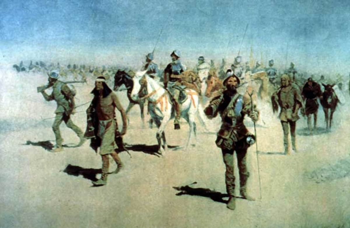 """Coronado sets out to the north"" — oil painting by Frederic Remington. Spanish Francisco Vázquez de Coronado Expedition (1540 - 1542), passing through Colonial New Mexico, to the Great Plains. Probably painted in 1890s"