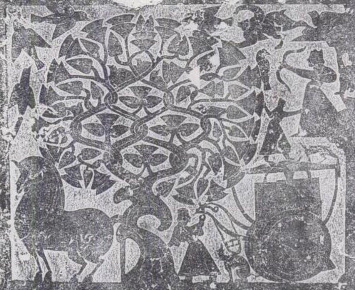 Rubbing of a stone relief depicting Hou Yi taking aim.