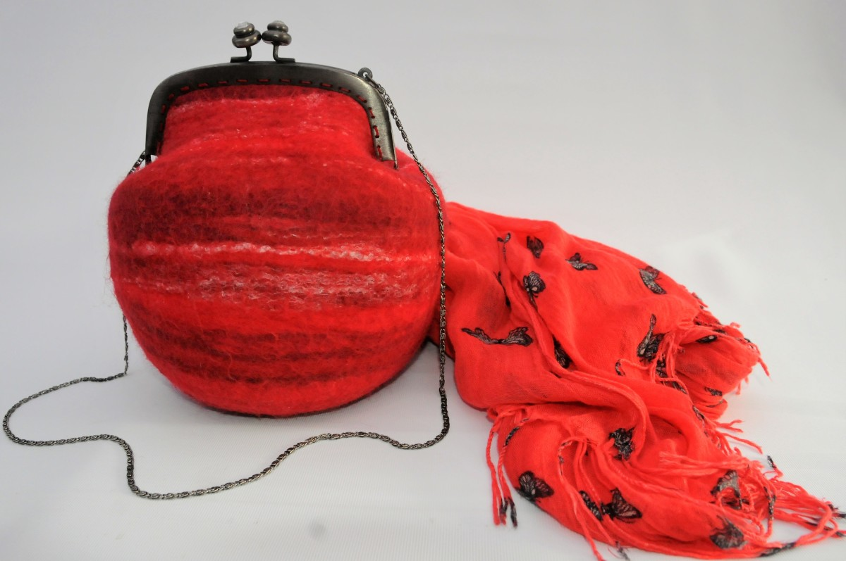 A wet felted handbag with a matching scarf