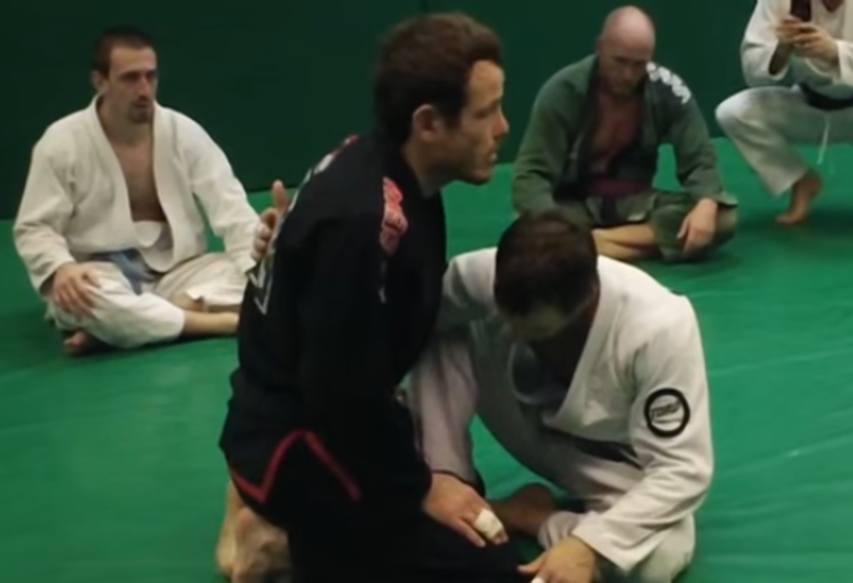 Passing the butterfly guard.