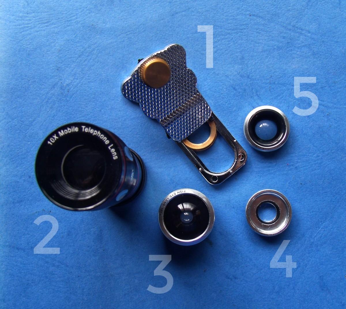 Universal Mobile Lens Kit:  1. Clamp 2. Telephoto Lens 3. Fish Eye Lens 4. MACRO 5. Wide Angle