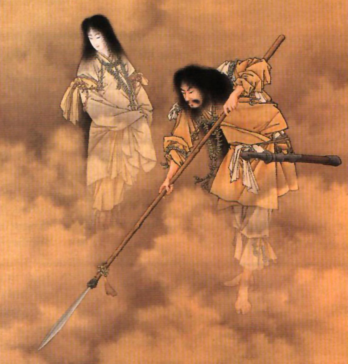 The Shinto myth of Izanagi and Izanami. As tragic as it is symbolic.