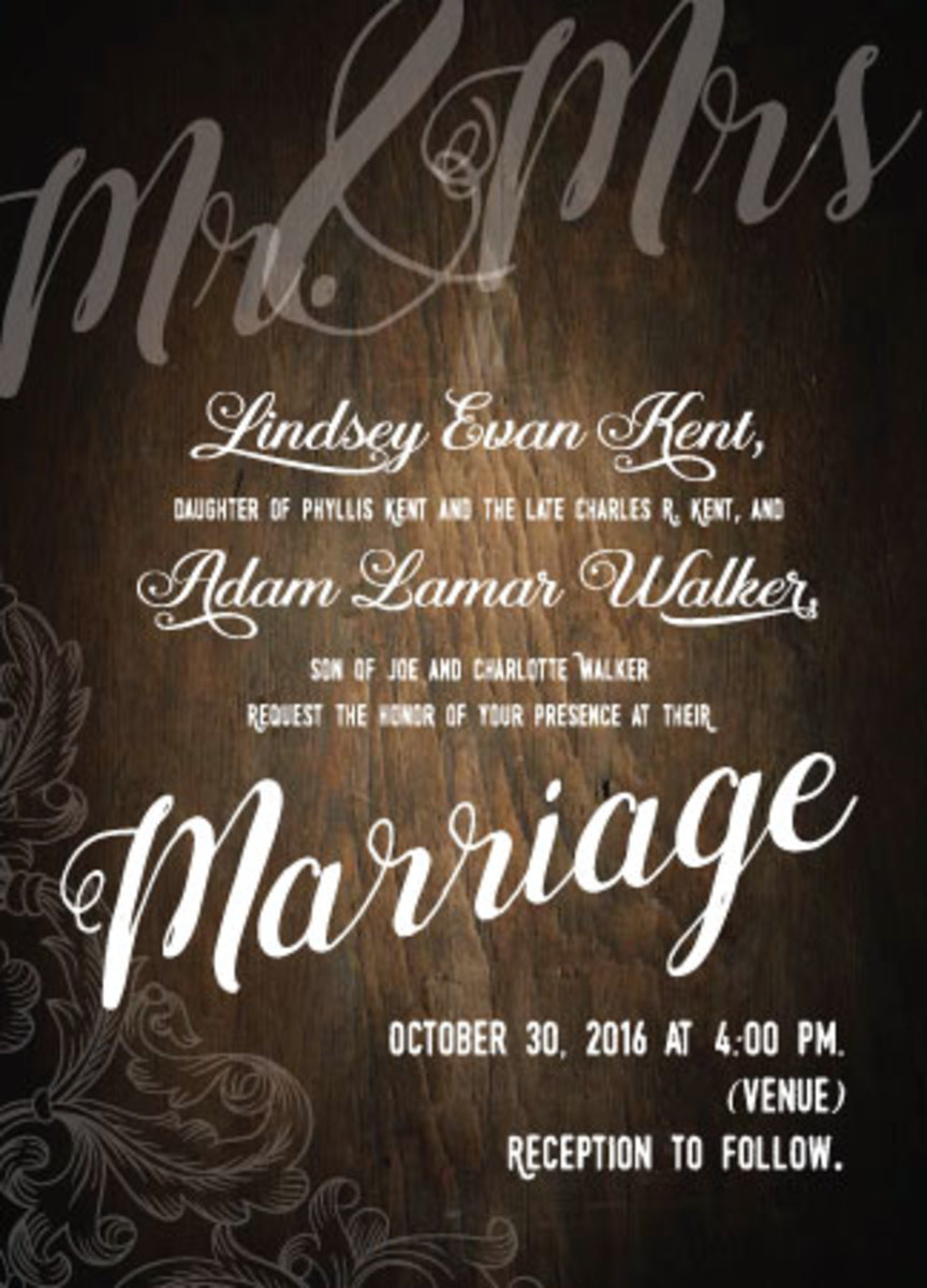 Type-based wedding invitation for a Southern wedding.