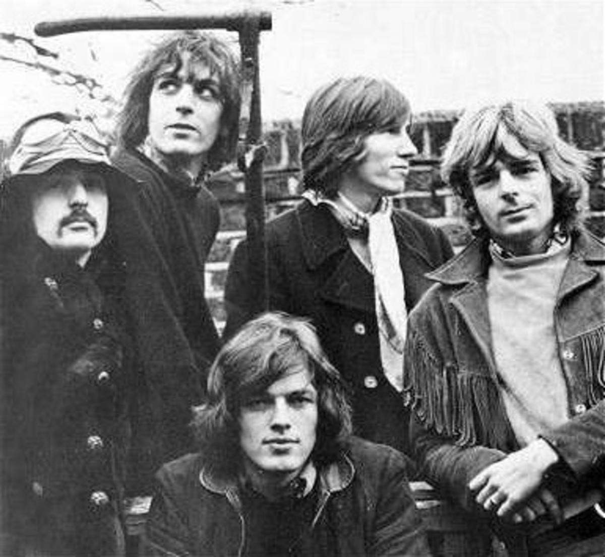 This rare photo of the original five Pink Floyd members includes (clockwise from bottom) David Gilmour, Nick Mason, Syd Barrett, Roger Waters and Richard Wright. All except Gilmour studied either art or architecture in London.