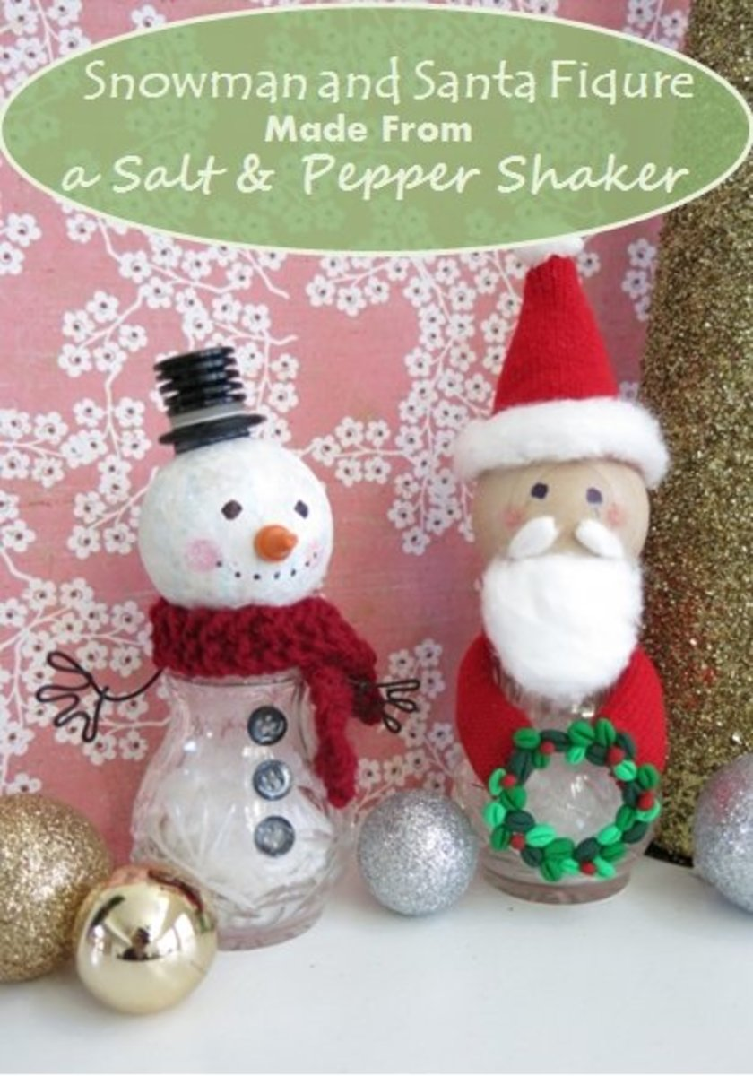 DIY Craft Tutorial:  How to Make a Snowman and Santa Figure from Salt and Pepper Shakers