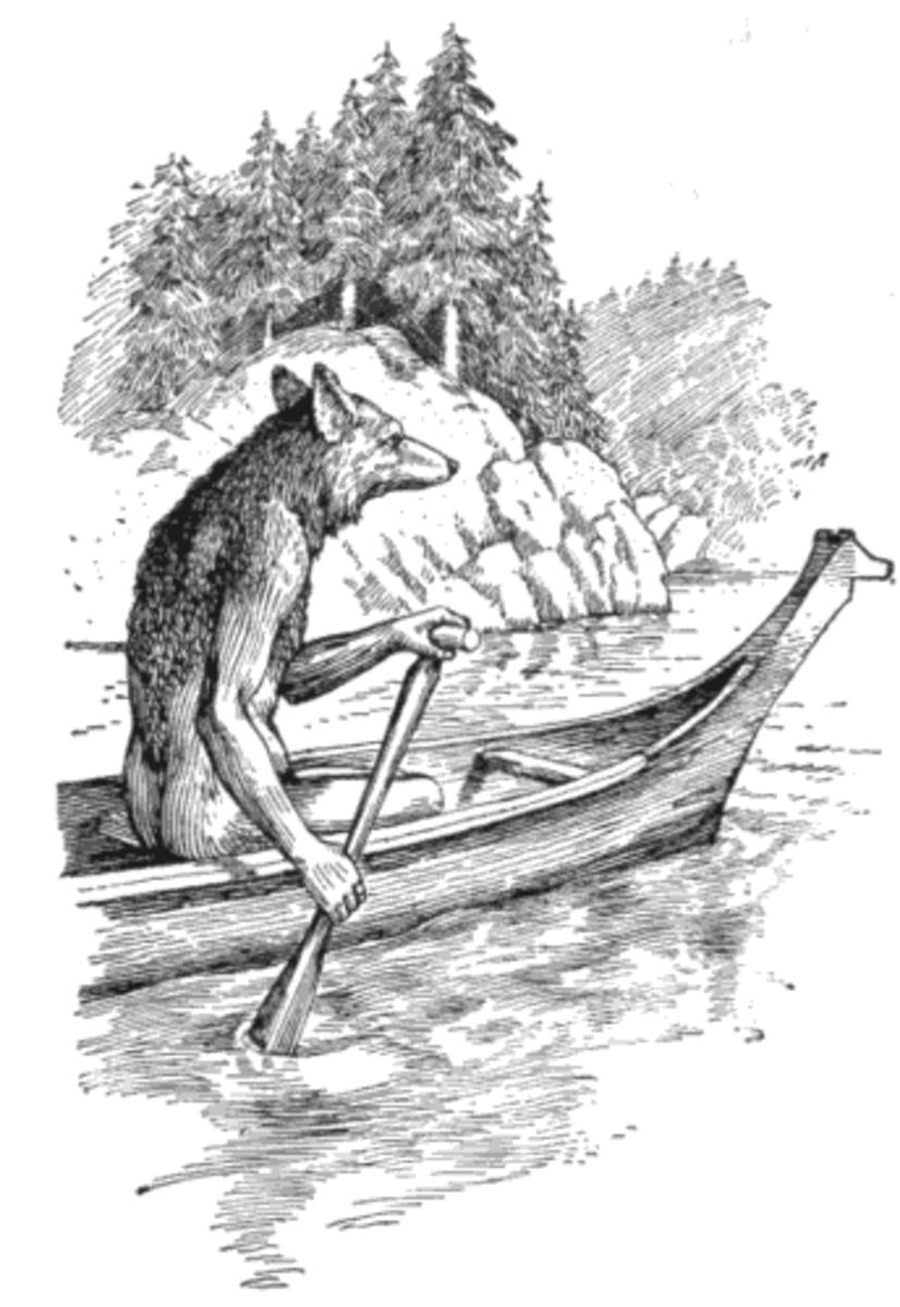 'Coyote in a Canoe', F. N. Wilson, 1915.